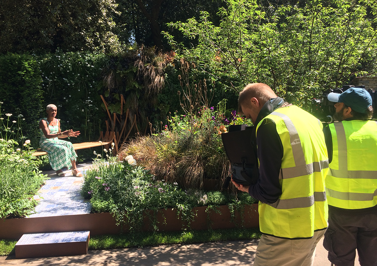 BBC's Arit Anderson filming an intro to the garden on Sunday 20 May (on iplayer for a few weeks)