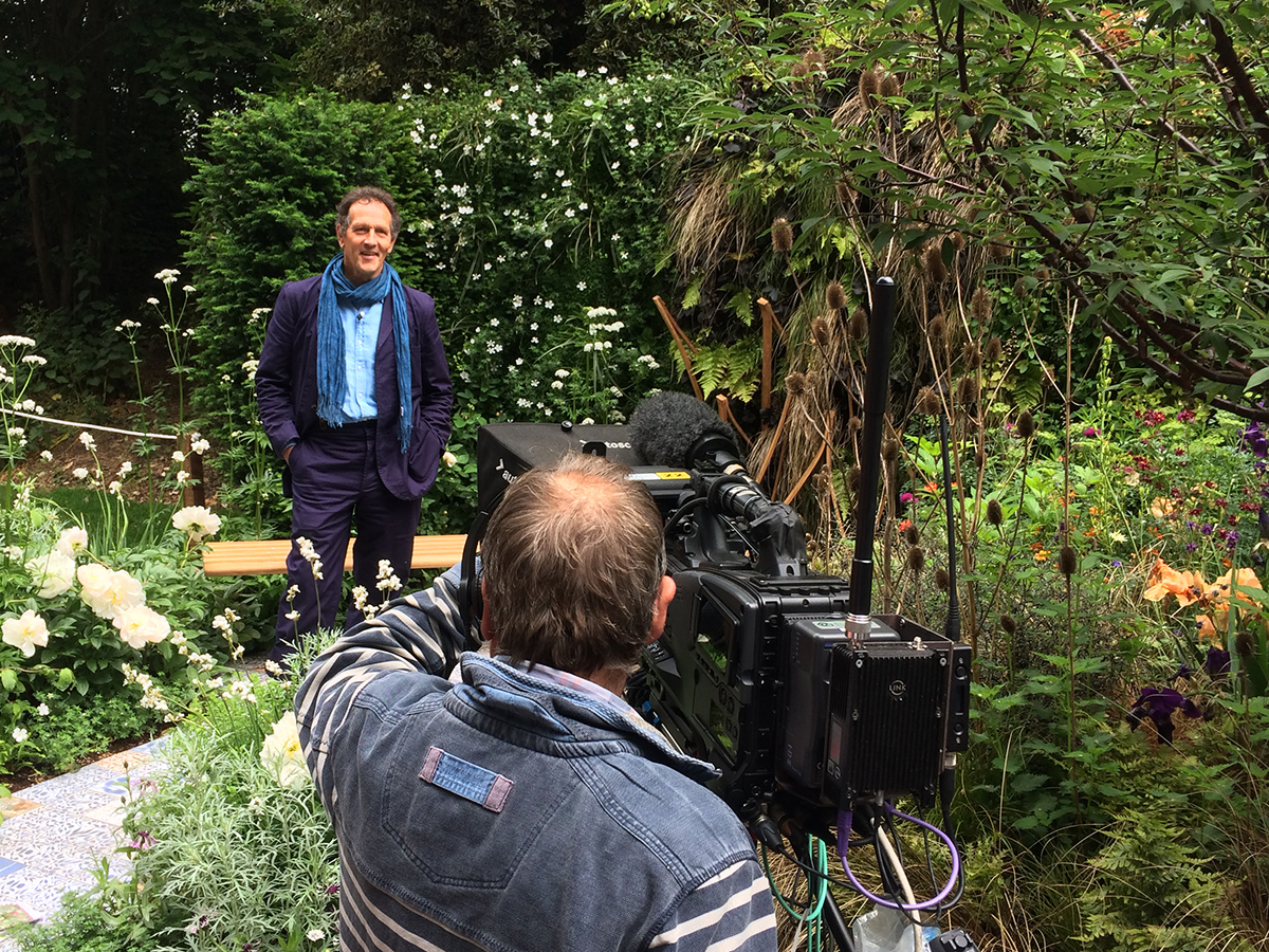 Monty Don from BBC Gardener's World filming on the garden