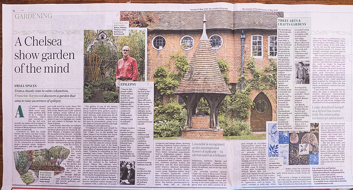 Sunday Telegraph 13th May - an article about the Embroidered Minds garden