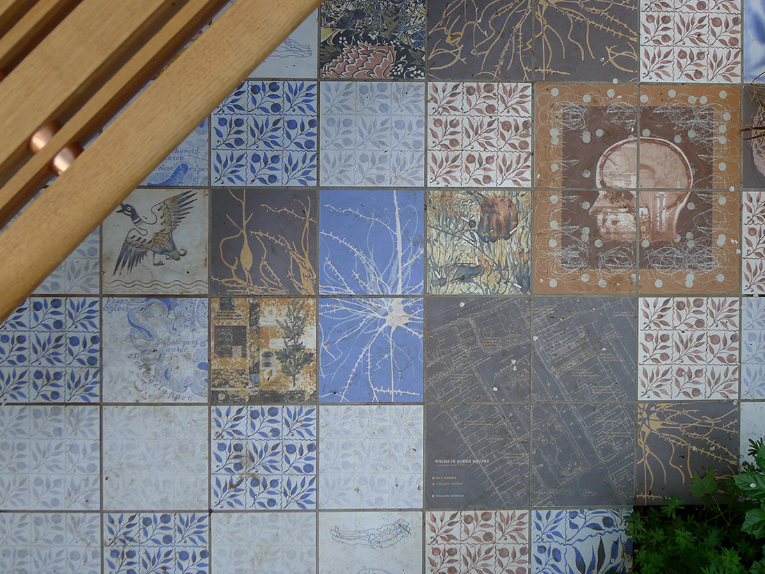 The tiles were designed by artist Sue Ridge and designer Andrew Thomas