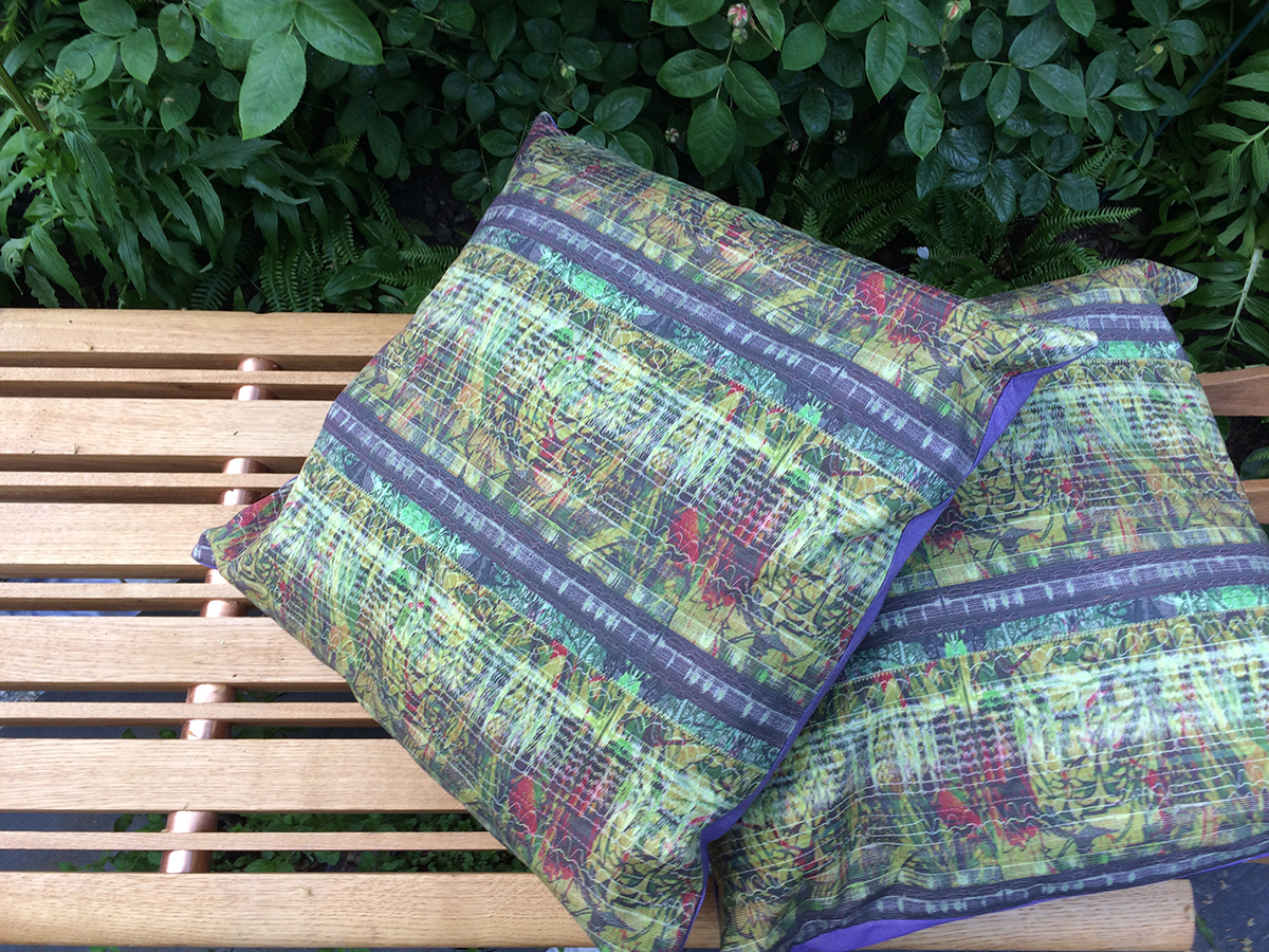 Thanks to Jules Crome for making these beautiful cushions using digitally printed material designed by Sue Ridge