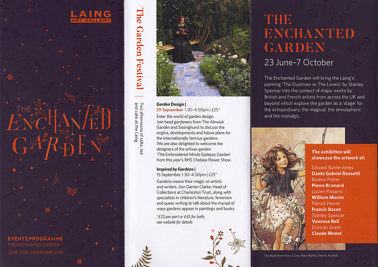 As part of the 'Enchanted Garden' exhibition at the Laing Art Gallery in Newcastle we'll be talking about our garden on 29th Sept 2018