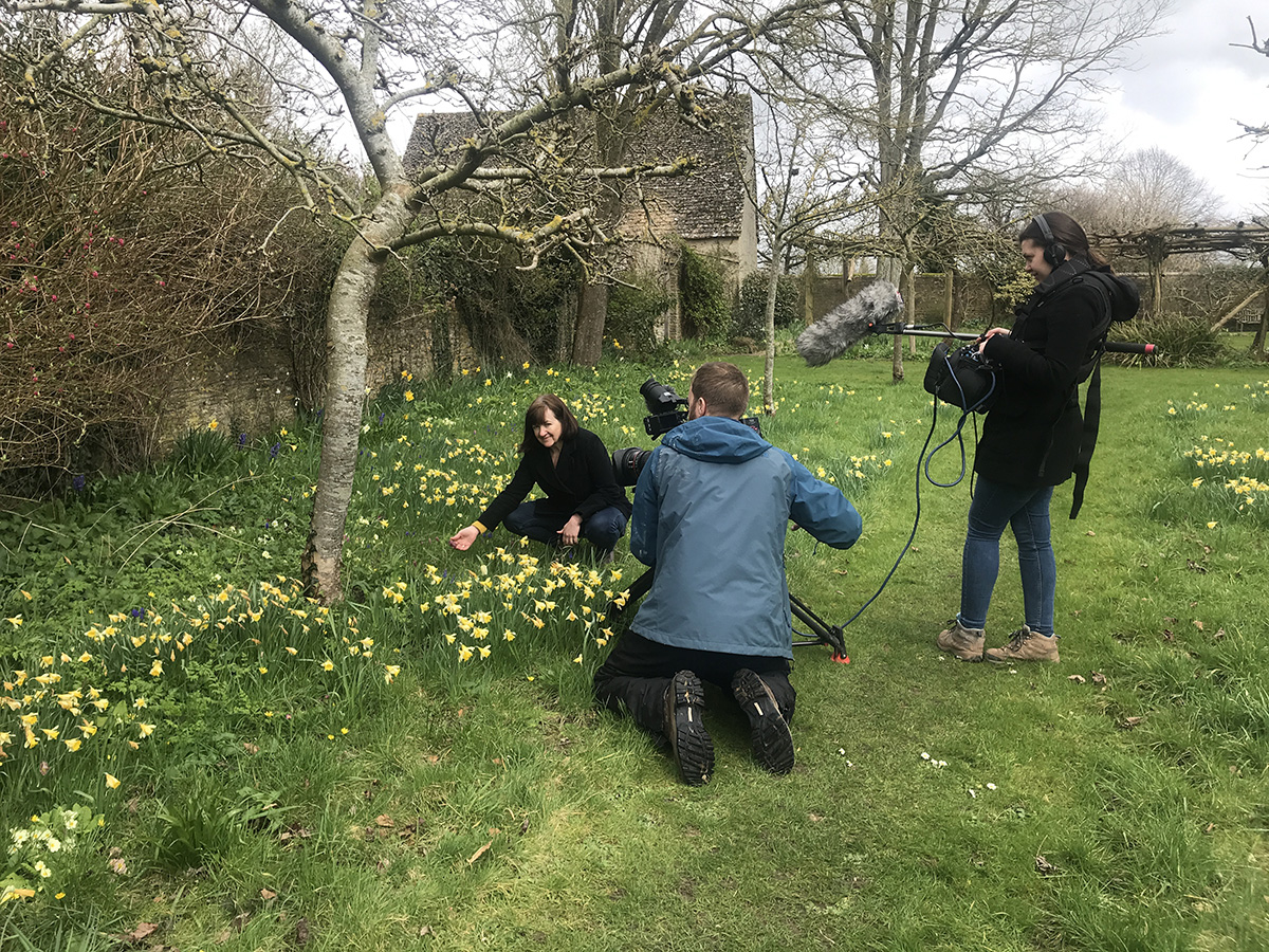 BBC TV filming Kati Crome at Kelmscott Manor for EM Garden story